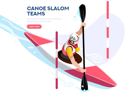 Male of person celebrate summer games athletics medal. Sportive people celebrating canoeing kayak team. Canoeist athlete symbol victory celebration. Sports cartoon symbolic flat vector illustration.