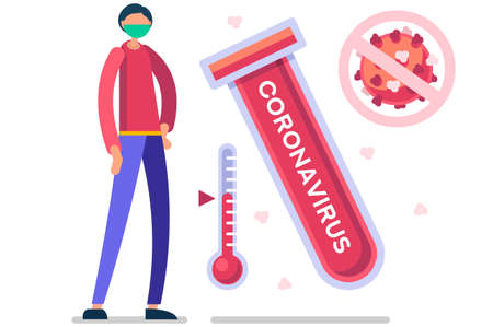 Symbolic alert, infection risk symbol. Coronavirus virus infected person with fever, coronaviruses signs and symptoms. Global health caution to viruses pandemic outbreak. Medical concept. Vector