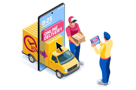 Application for pay, discount on e commerces, online discount. Cart and pay on e-shop application, e commerce cart. E-shop application with purchasing characters and text. Cartoon vector illustration.