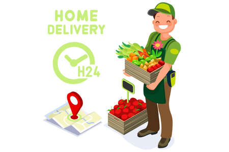 Symbolic fast food delivery symbol. Abstract delivery concepts, man delivering foods fruit and vegetables, deliver concept. Flat cartoon vector illustration. Grocery express shipping, graphic design