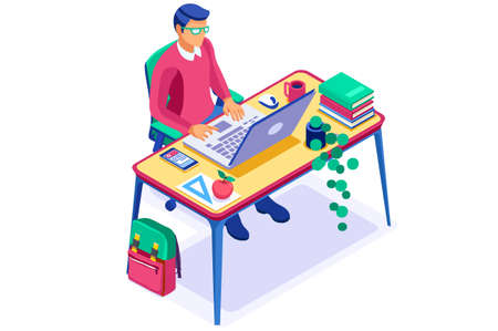 Books for education online, student learning to work. Student knowledge by online laptop, education at home. Books on the desk at home and a laptop for knowledge. Work concept flat vector illustration Vectores