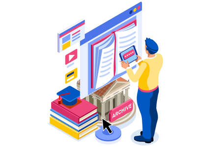 Library reading page for study. Reading dictionary on library, university encyclopedia. Libraries web page, internet archive of books history culture book on internet. Flat cartoon vector illustration