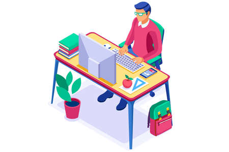Student's online smartphone to work and learn. Device for learning, home study for distance school on laptop. Studying desk online education. Smartphones laptops devices for distance student. Vector.