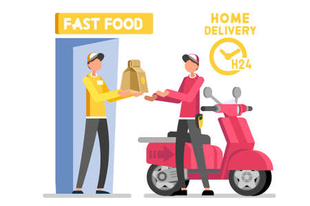 Abstract delivering, delivery a deliver vector design. Express foods orders, speed route to home direction, male worker give fast food order to customer cartoon character. Client purchase illustration Vectores