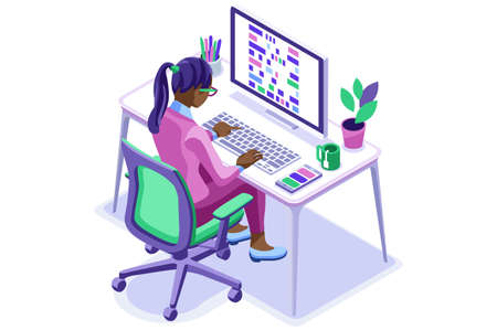 Trendy homes studio at girl home. Work on trendy computer in a young space working with style on laptop. Concept of working, girl in isolation at home. Cartoon character, vector illustration concepts Vectores