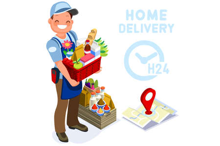 Symbolic commercial home deliver symbol. Courier truck of delivering boy with in house parcel, e commerce sign. Vector illustration icon. Express food, home delivery commercial online order concept. Vectores