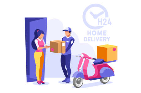 Symbolic commercial home delivery symbol. Courier truck of delivery boy with in house parcel, e commerce sign. Vector illustration icon. Express food, home delivering commercial online order concept.