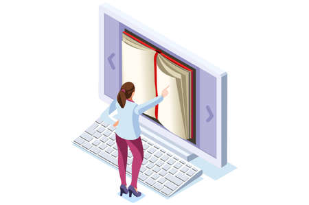 Concept of Books for culture history, book archive on internet. Book and people, digital characters learning on digital books and media. Modern character on conceptual flat cartoon vector illustration Vectores