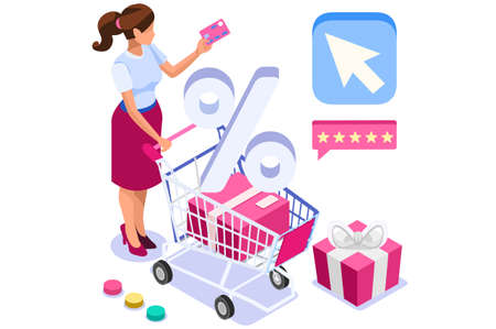 Application for pay, discount on e-commerces, online discount. Cart and pay on e-shop application, e-commerce cart. E-shop application with purchasing characters and text. Cartoon vector illustration. Vectores