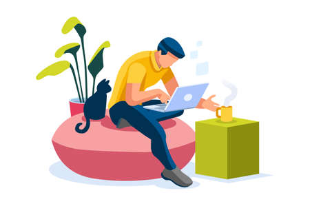 Home with boy working in isolation. Homes equipment to working home. Education on smart home for smart man, homes digital work. Clothes for homes life isolated cartoon character vector illustration Vectores