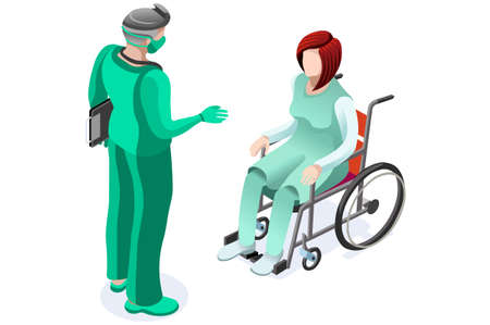 Concept of medical patient on clinic with doctor, healthcare medicine care symbol. Health care medical doctor cares given by health consultation. Conceptual symbolic vector illustration, flat cartoon. Vectores
