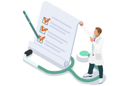 Medicine insurance security care for life. Hospital diagnosis design, health care document filling concept. Document health diagnoses medical insurance. Text and cartoon character illustration
