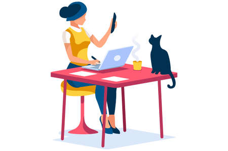 Trendy homes studio at woman home. Work on trendy computer in a young space working with style on laptop. Concept of working, woman in isolation at home. Cartoon character vector illustration concepts