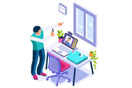 Working at home on computer screen, online talking on digital office. Comfortable homes job sitting at home for office talking. Worker desk for communication, male character on human house.