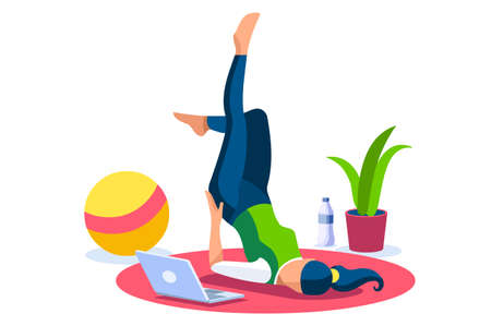 Girl wellness, sports at home by workout doing. Healthy workout for the body, home indoor sports for female wellness. Training female indoors for body health concept. Cartoon style illustration Foto de archivo - 147504627