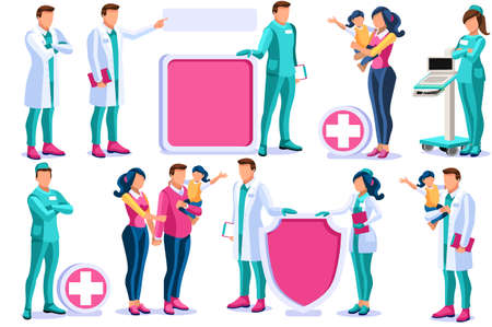 Clinic of medical health, woman medicine. Diagnosis at medicals pharmacies by doctor of clinical healthcare to patient. Hospital, medic pharmacy design. Consultation by the doctors vector illustration Foto de archivo - 147161647