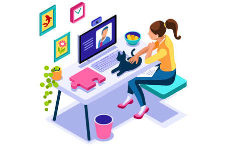 Working at home on computer screen, online talking on digital office. Comfortable homes job sitting at home for office talking. Worker desk for communication, female character on human house. Vectores