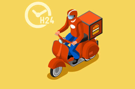 Online delivery express concept with courier parcel order. Courier shipping concepts with driver. Deliveries design with track on web, vehicle track, delivery concept. Banner flat illustration. Foto de archivo - 147504633