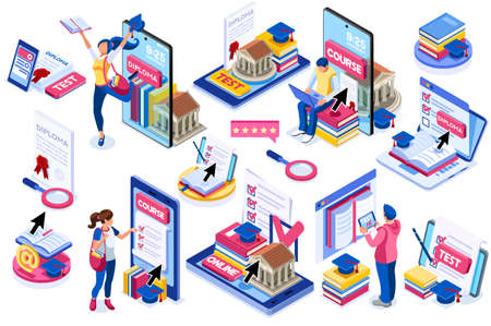 Student learning for diploma at the class with books. Course, class work for diploma test learning, academy student on online device working on test. Diplomas for students, academy education. Vector. Vectores