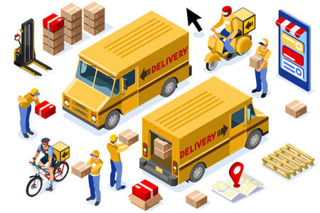 Online delivery express concept with courier parcel order. Courier shipping concepts with driver. Deliveries design with track on web, vehicle track, delivery concept. Banner flat vector illustration. Иллюстрация