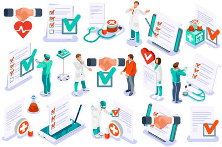 Medicine insurance security care for life. Hospital diagnosis design, health care document filling concept. Document health diagnoses medical insurance. Text and cartoon character vector illustration