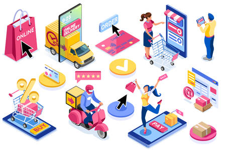 Application for pay, discount on e commerces, online discount. Cart and pay on e-shop application, e commerce cart. E-shop application with purchasing characters and text. Cartoon illustration. Foto de archivo - 147504640
