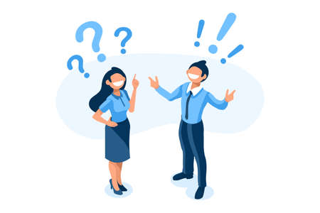 Symbolic questions, marks of answers, people question concept. Support mark of online support, ask concept exclamation symbol of question. Man and woman character Isometric Illustration Vector Design Foto de archivo - 151568417