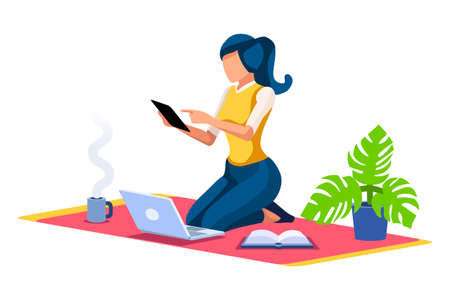Trendy homes studio at woman home. Work on trendy computer in a young space working with style on laptop. Concept of working, woman in isolation at home. Cartoon character on vector illustration