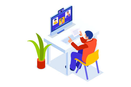 Abstract working at home concept. Young company inspiration for trendy working at home on work space studio. Stylish vector illustration in flat cartoon style. Developer teamwork shared works concepts Foto de archivo - 151554210