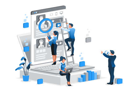 Hiring vector illustration. Searching job flat tiny persons isometric concept Vectores