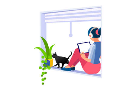 Trendy homes studio at woman home. Work on trendy computer in a young space working with style on laptop. Concept of working, woman in isolation at home. Cartoon character on vector illustration Foto de archivo - 151866423