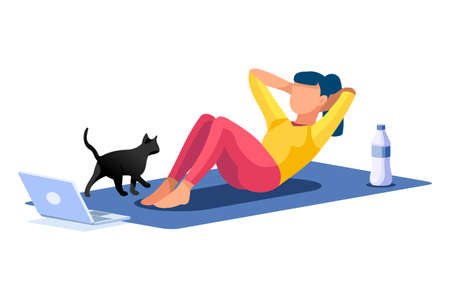 Girl wellness, sports at home by workout doing. Healthy workout for the body, home indoor sports for female wellness. Training female indoors for body health concept. Cartoon style vector illustration Foto de archivo - 151866422