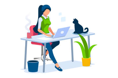 Trendy homes studio at woman home. Work on trendy computer in a young space working with style on laptop. Concept of working, woman in isolation at home. Cartoon character on vector illustration Foto de archivo - 151866425
