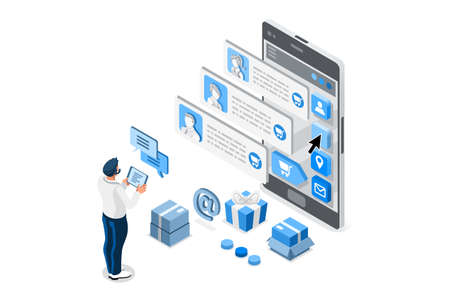 Positive choose, people feedback or rating, customer review service. Concept of satisfaction of service, customer feedback, choose people rating, review concept. Isometric illustration vector design.