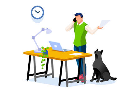 Trendy homes studio at man home. Work on trendy computer in a young space working with style on laptop. Concept of working, man in isolation at home. Cartoon character on vector illustration concepts