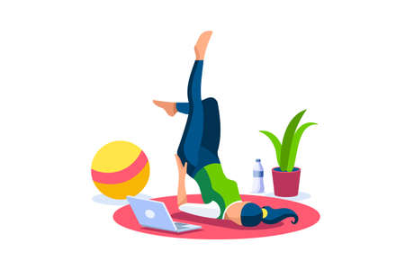 Girl wellness, sports at home by workout doing. Healthy workout for the body, home indoor sports for female wellness. Training female indoors for body health concept. Cartoon style vector illustration Foto de archivo - 151866429