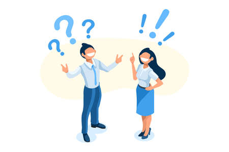 Symbolic questions, marks of answers, people question concept. Support mark of online support, ask concept exclamation symbol of question. Man and woman character Isometric Illustration Vector Design Foto de archivo - 151851438
