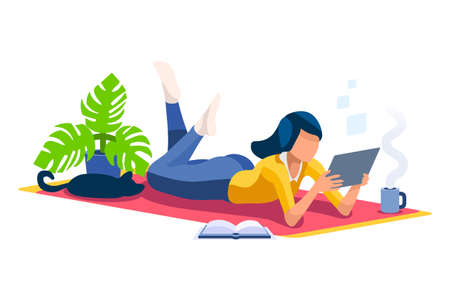 Trendy homes studio at woman home. Work on trendy computer in a young space working with style on laptop. Concept of working, woman in isolation at home. Cartoon character on vector illustration Foto de archivo - 151851441