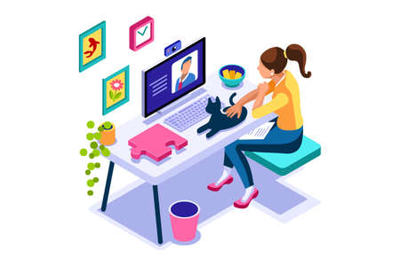 Working at home on computer screen, online talking on digital office. Comfortable homes job sitting at home for office talking. Worker desk for communication, female character on human house. Vector Foto de archivo - 151851437