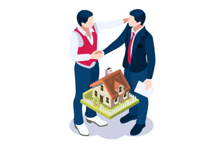 Mortgage to invest, characters and real estate property, loan on real estate to buy. Character and agent for invest on rent, mortgage concept or rent. Agent buying loan, people's property. Vector. Vectores