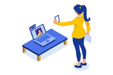 Abstract working at home concept. Young company inspiration for trendy working at home on work space studio. Stylish vector illustration in flat cartoon style. Developer teamwork shared works concepts Foto de archivo - 151851442