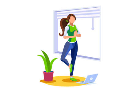 Girl wellness, sports at home by workout doing. Healthy workout for the body, home indoor sports for female wellness. Training female indoors for body health concept. Cartoon style vector illustration Foto de archivo - 151851443