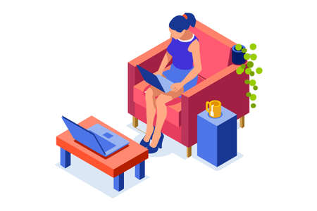 Abstract working at home concept. Young company inspiration for trendy working at home on work space studio. Stylish vector illustration in flat cartoon style. Developer teamwork shared works concepts Foto de archivo - 151851456