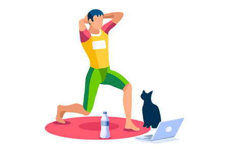 Boy wellness, sports at home by workout doing. Healthy workout for the body, home indoor sports for male wellness. Training male indoors for body health concept. Cartoon style vector illustration