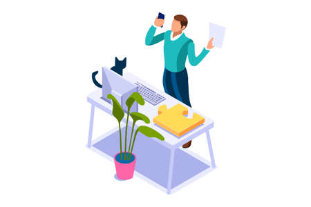 Working at home on computer screen, online talking on digital office. Comfortable homes job sitting at home for office talking. Worker desk for communication, male character on human house. Vector Vectores
