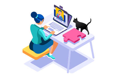 Working at home on computer screen, online talking on digital office. Comfortable homes job sitting at home for office talking. Worker desk for communication, female character on human house. Vector Foto de archivo - 151518454