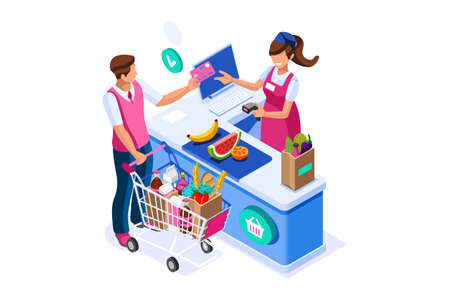Supermarket line purchases at the supermarket cartoon grocery concept isometric vector.