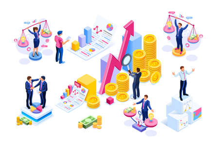 Financial market stock investments growth rate on chart isometric concept. Ilustração