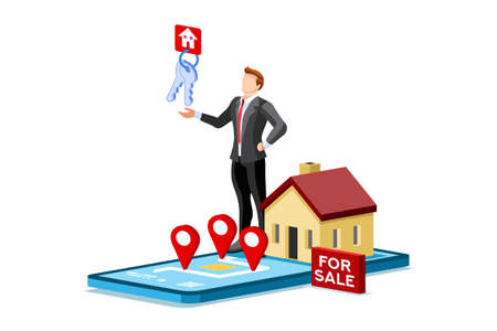 Mortgage to invest, characters and real estate property, loan on real estate to buy. Character and agent for invest on rent, mortgage concept or rent. Agent buying loan, people's property. Vector. Ilustração