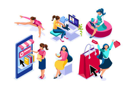 Set of young women eating, sporting and shopping. Activities of life on leisure. Working and relaxing doing the work of the life. Shopping, eating character. Collection flat people vector illustration Ilustração